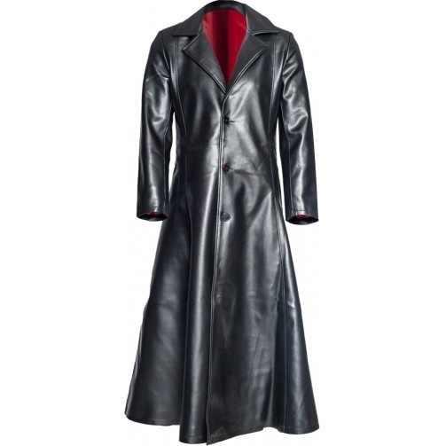 גברים של אופנה ארוך שרוול דש עור מעיל חורף גותי פאנק שחור ארוך מעיל ארוך מעיל גותיקה ערפד מעיל כהה אביר מגניב C