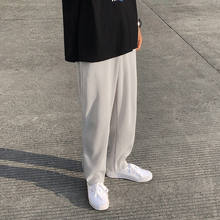 Privathinker plissado em linha reta calças de cintura elástica casual masculina 2021 primavera solto coréia calças masculinas tecido seda gelo