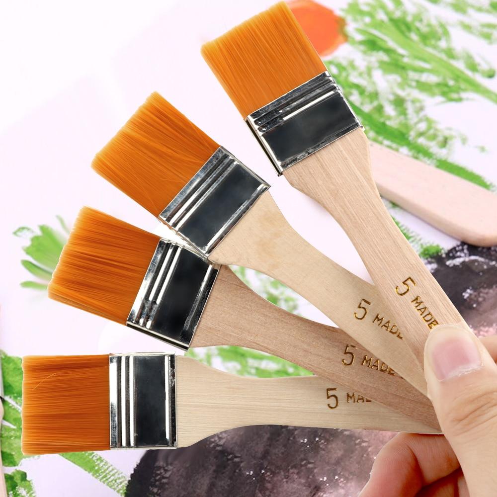 Hair Painting Brush Acrylic Paints 4Pcs/Set Watercolor Paint Drawing Nylon Oil Paint Brush Wood Handles
