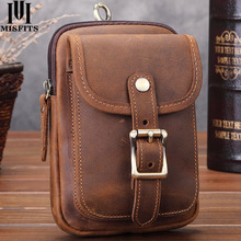 MISFITS Genuine Leather Men Small Fanny Pack Casual Phone Pouch Waist Bag Belt With Passport Holder For Male Hook Bum Bags