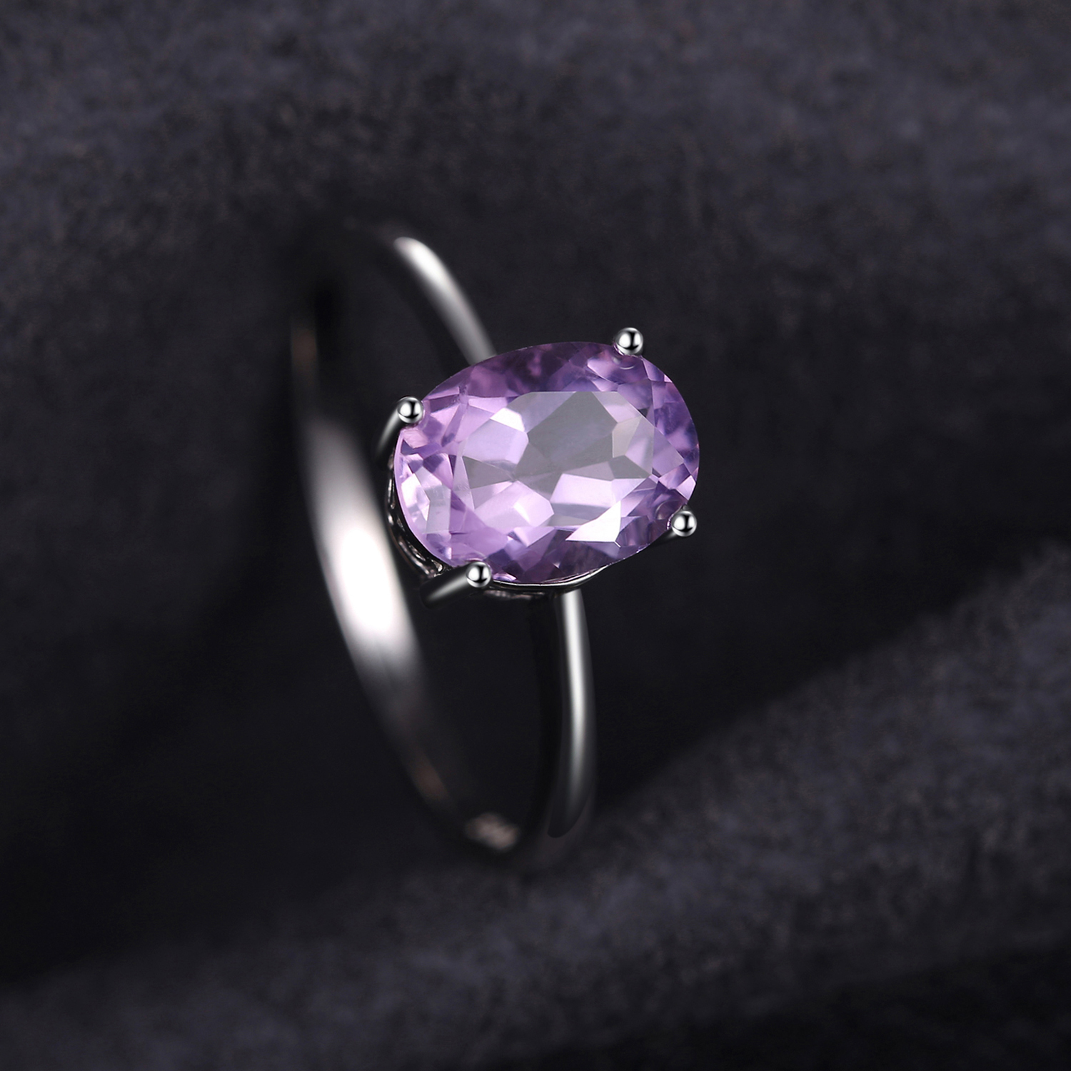 Genuine Sterling Silver Genuine Amethyst Solitaire Baby Ring