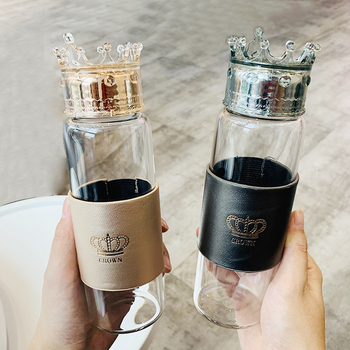 Fashion Glass Water Bottle Cup With Crown Lid Body Cover Heat Resistant New Arrival цена 2017
