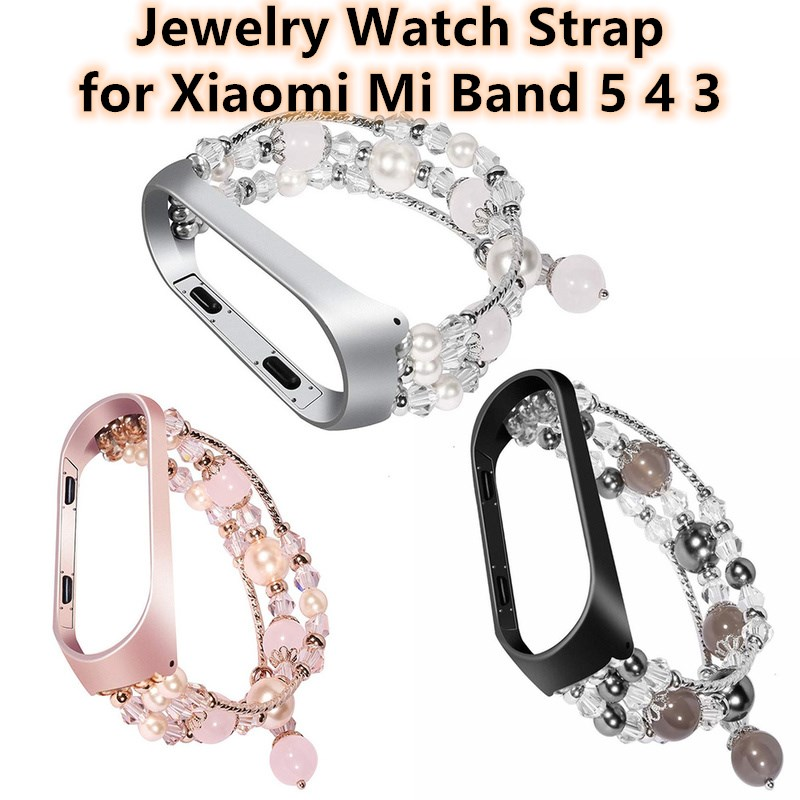 Fashion Jewelry Watch Strap for Xiaomi Mi Band 5 4 3 Bracelet Bead String Wristband Replacement Watchband Women Girl Wriststrap