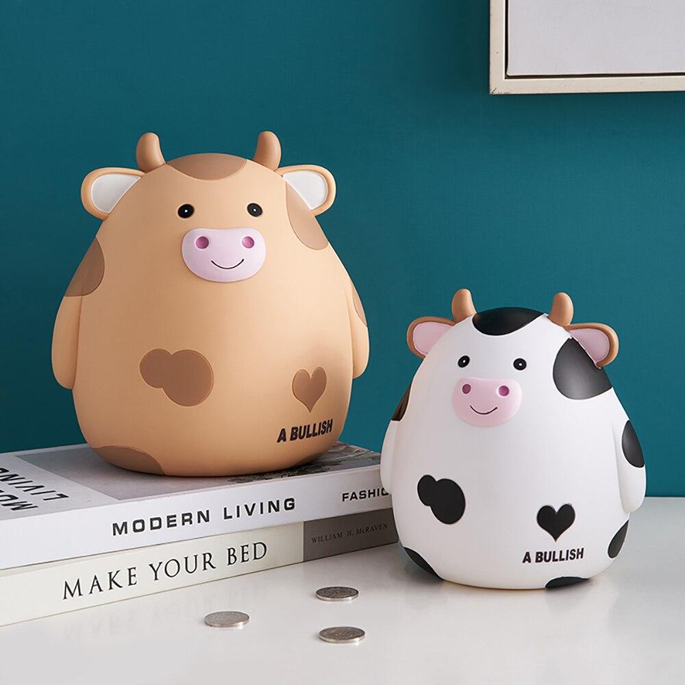 Home Decoration Accessories Children's Piggy Bank Cute Cow Vinyl Piggy Bank Coin Storage Box Children's Toys Birthday Gifts