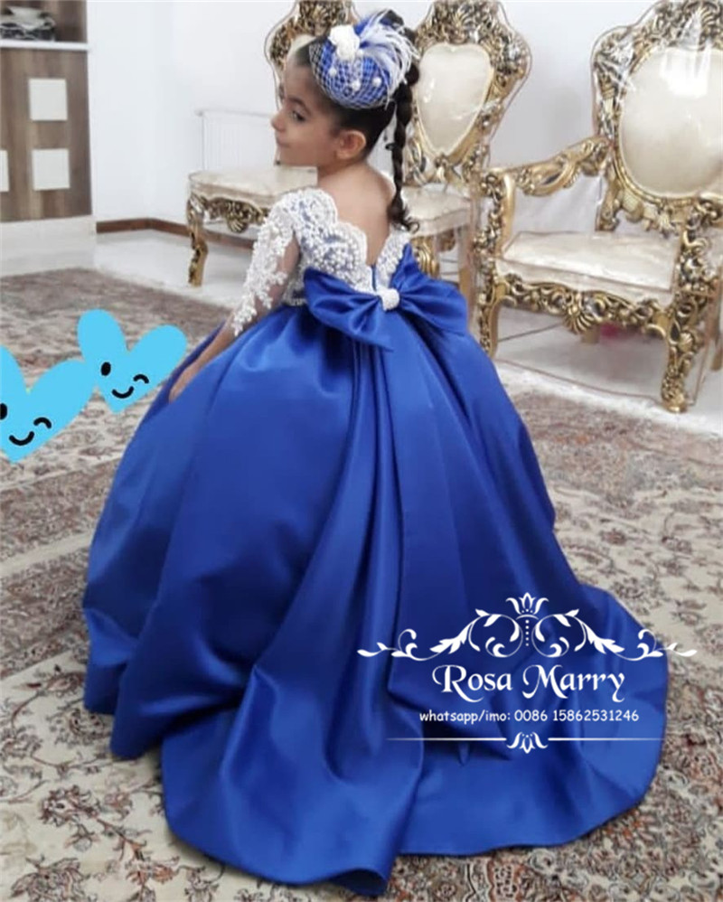 US $137.0 |Luxury Ball Gown Girls Pageant Dresses For Weddings 2020 Vintage  Lace Blue Knot Bow Plus Size Toddler Girls Birthday Prom Gowns on ...