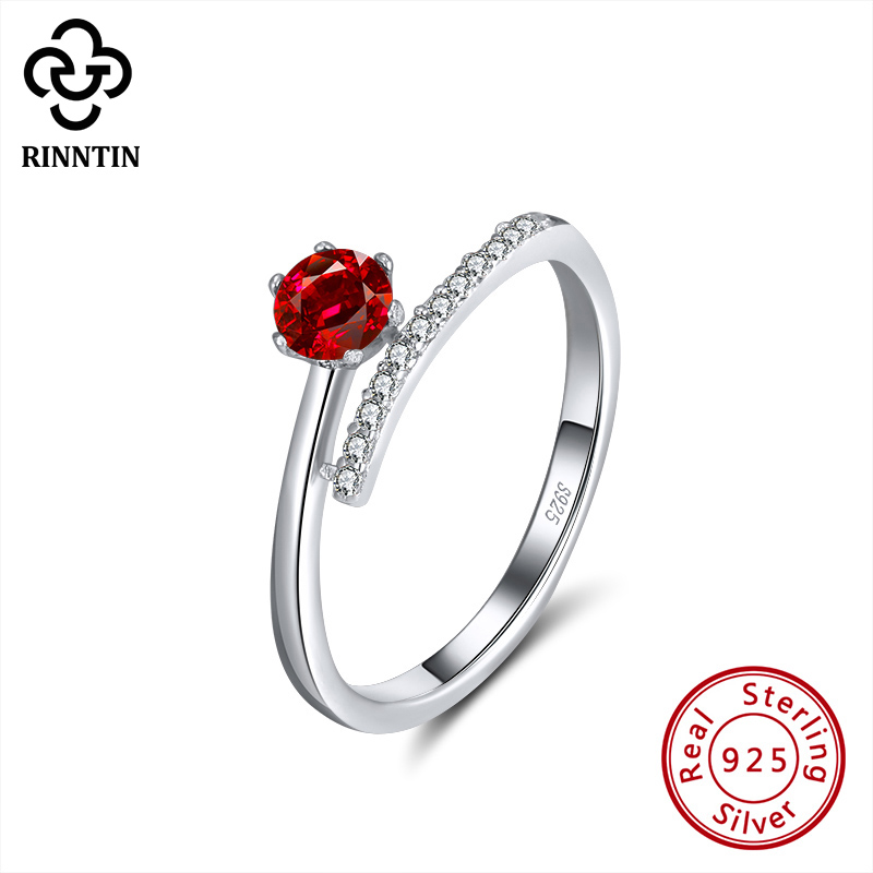 Wostu 925 Sterling Silver Solitaire engagement Rings with Heart shape Red Zircon