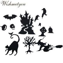 WISHMETYOU 1Sets Halloween Castle Magic Tree Bat Pumpkin Skeleton Bird Paper Art Scrapbook Metal Cutting Dies Embossing