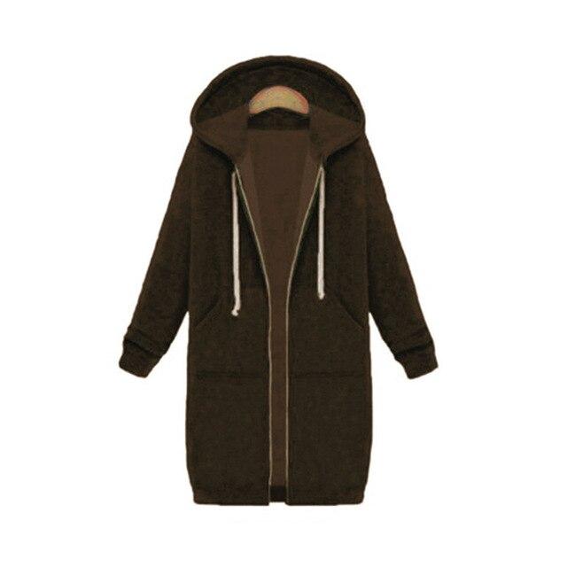 Once 2020 Autumn Casual Women Long Hoodies Sweatshirt Coat Zip Up Outerwears Hooded Jacket Winter Pockets Plus Size Outwear Tops 4