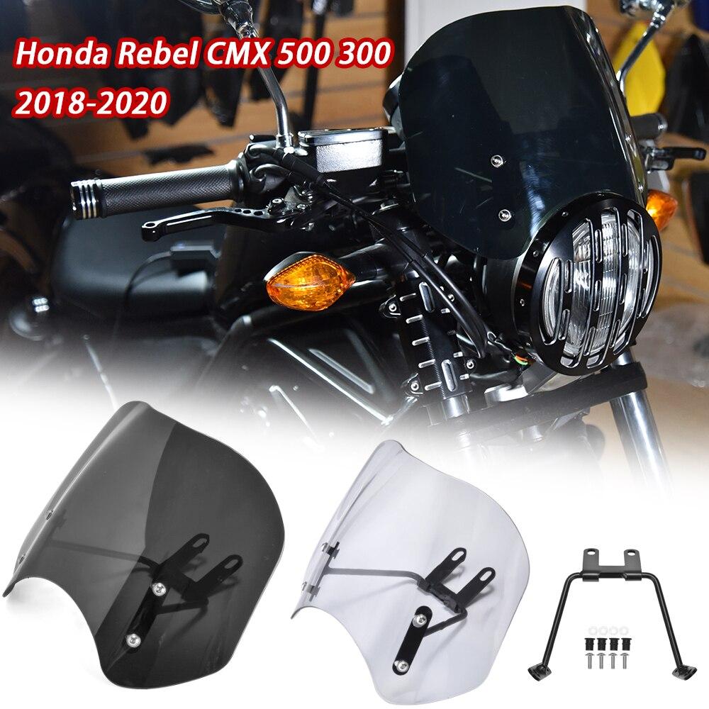 Motorcycle Windscreen Windshield With Bracket For 2018 2019 2020 Honda Rebel CMX 500 300 CMX500 CMX300 Flyscreen Wind Deflector