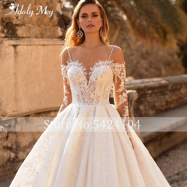 Glamorous Lace Appliques Court Train A-Line Wedding Dress 2021 Luxury Sweetheart Neck Beading Long Sleeve Princess Wedding Gown 4