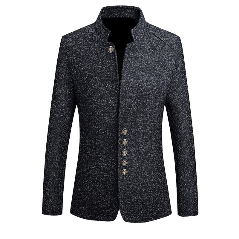 2019 Brand Mens Vintage Blazer Coats Chinese Style Business Dress Blazers Casual Stand Collar Jackets Male Slim Fit Suit Jacket