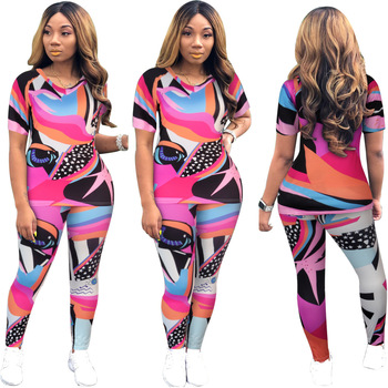 2020 Summer Women Suit Sexy Style Solid-color Geometric Print Round-neck T-shirt & Patchwork Trousers Two Piece Set sexy style jewel neck solid color voile splicing half sleeve t shirt for women