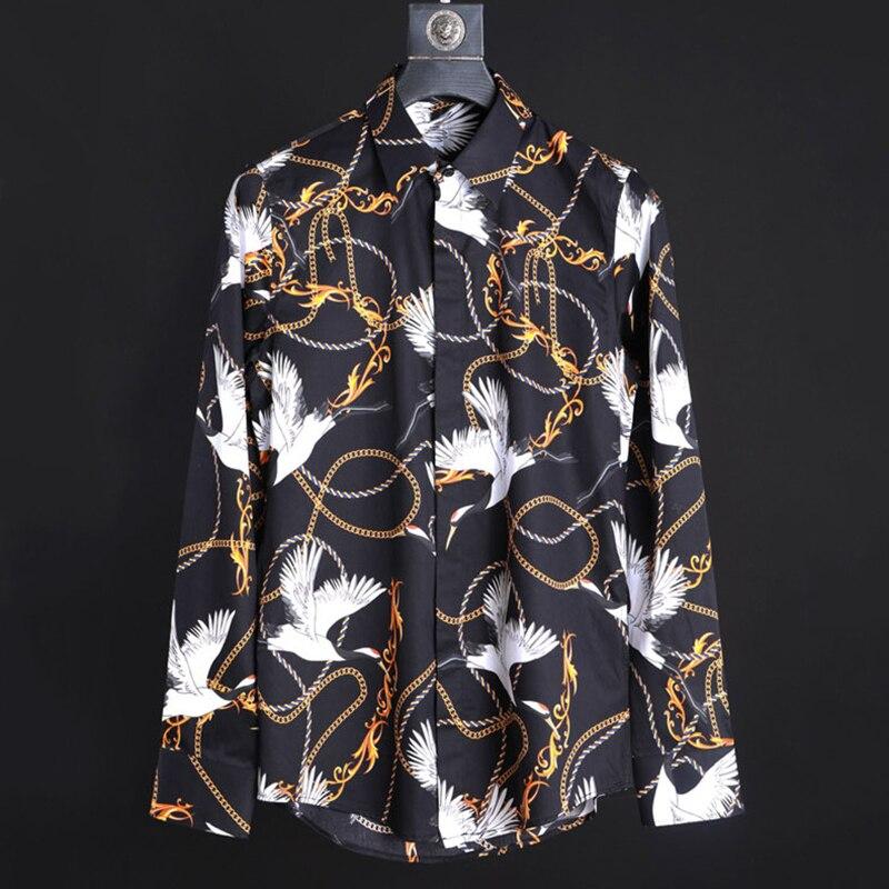 Мужская рубашка с принтом Красного коронованного Журавля, ожерелье, веревка, рисунок Пейсли, модная рубашка с длинным рукавом, высокое каче...
