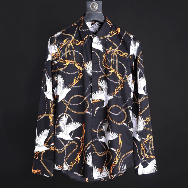 men's shirt printing red crowned crane necklace rope paisley pattern fashion long sleeve shirt high quality new man business top