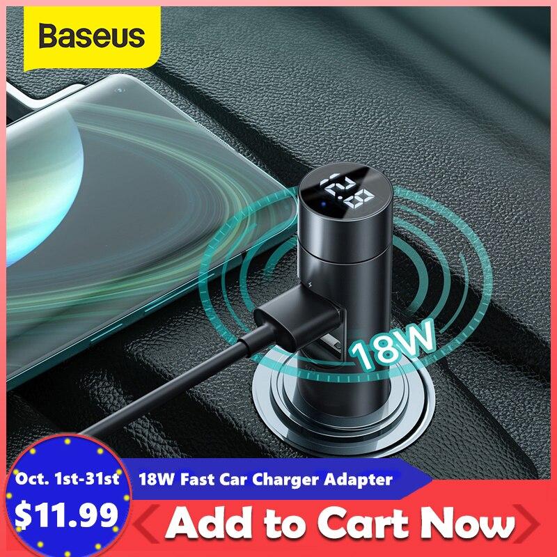 Baseus 18W Cargador de Coche Rápido adaptador transmisor de FM Bluetooth modulador para automóvil manos libres para coche receptor de Audio 18W 2 USB