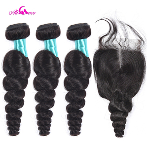 Image 1 - Ali Coco Malaysian Loose Wave 3 Bundles With Closure 100% Human Hair Weave Bundles with Baby Hair Closure Non Remy Hair