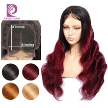 Racily Hair 4×4 Closure Wig Ombre Lace Closure Human Hair Wigs For Black Women Burgundy Red Remy Brazilian Body Wave Hair Wig