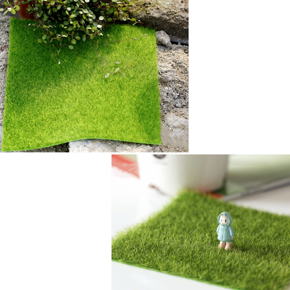 Decorative Square Lawn Artificial Grass Pet Turf Micro Landscape Decoration DIY Mini Fairy Garden Simulation Turf Mat 15x15cm