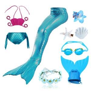 Image 5 - 9 stks/set Meisjes Swimmable Zeemeermin Staarten Cosplay Kostuums Meisjes Kinderen Zwemmen Bikini Bathing Badpak met Haar Clips Monofin