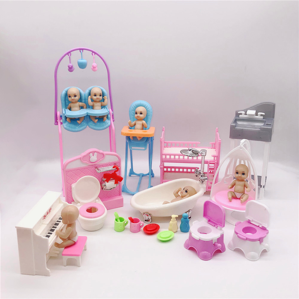 2019latest Fashion Barbies Princess Doll Accessories Table + Cot + Toilet + Little Doll Plastic Children's Puzzle Interactive To