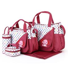 Duża pojemność 5 sztuk torba na pieluchy dla niemowląt torby na pieluchy zestawy organizator dla mumia macierzyński dziecko torba torba na pieluchy wózek pieluchy torba tanie tanio Hobos Poliester zipper (30 cm Max Długość 50 cm) 20inch hl01096 31inch 43inch Animal prints diaper bag backpack