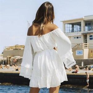 Image 3 - כיסוי קופצים 2020 לבן כותנה טוניקת קיץ טוניקה לנשים וחוף בגד ים לכסות את חוף אישה סרונג palge # Q745