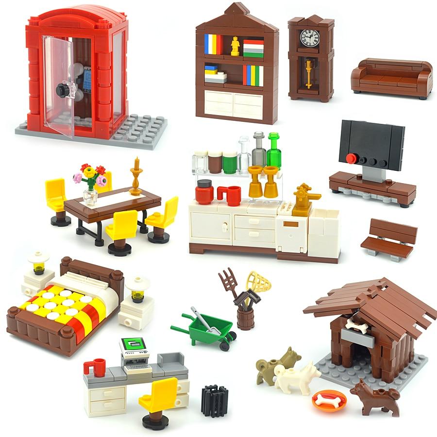 Конструктор City MOC из кубиков, креативные строительные блоки «сделай сам» для телевизора, компьютера, дивана, кровати, стола, Kennel, игрушки для ...