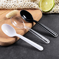 Disposable Spoon Thick Transparent White Plastic Cake Spoon Dessert Ice Cream Syrup Mousse Spoon Take out Small More