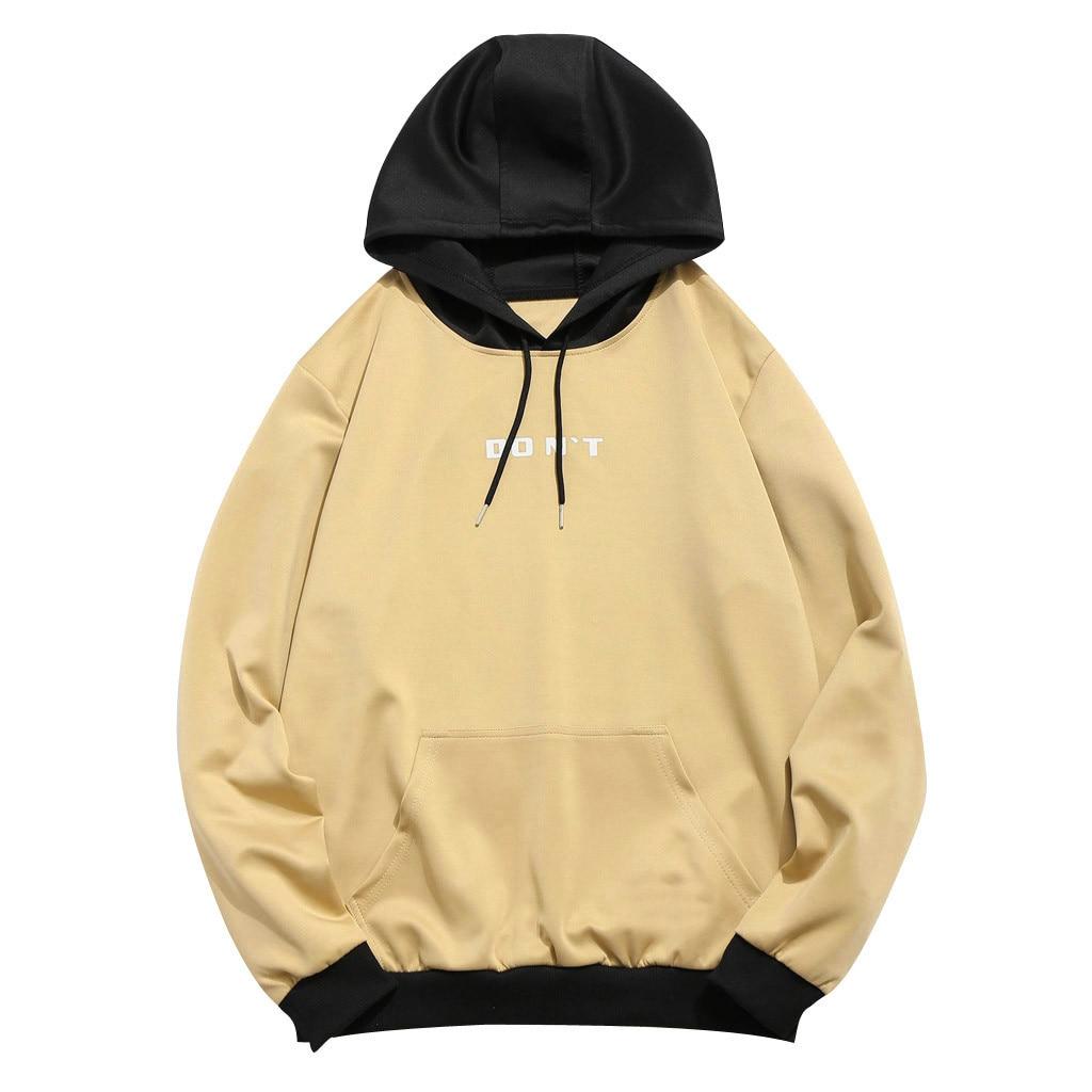Hooded Sweatshirt Men Women 2020 Casual Autumn Streetwear Patchwork Hooded Top Blouse Sweatshirt With Pockets Coat толстовка