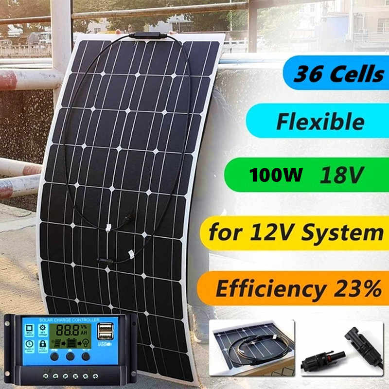 Xinpuguang 18v 100W Solar Panel + 10A Controller Monocrystalline Cell For 12V Battery Power Charger Home Solar Module System
