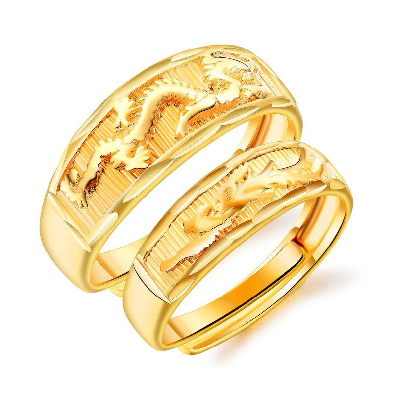 Ethnic style open ring sweet men and women models Chinese dragon phoenix golden couple jewelry VR688