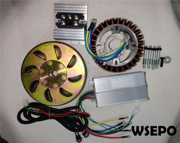 5000W 27 Pole 48V/60V/72V DC Generator Build Kit(stator,rotor,controller,rectiifer etc.) fits on 19mm tapered 55mm output shaft
