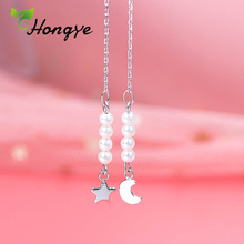 Stylish Star and Moon Pendant Pearl Earrings for Women Long Tassel Ear Lines Summer Hanger Sterling Silver Ear Jewelry Wholesale