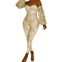 Sliver Sequin Jumpsuit Women Strapless Off Shoulder Skinny Sparkly Rompers Sexy Glitter Christmas Club Party Overalls Macacao