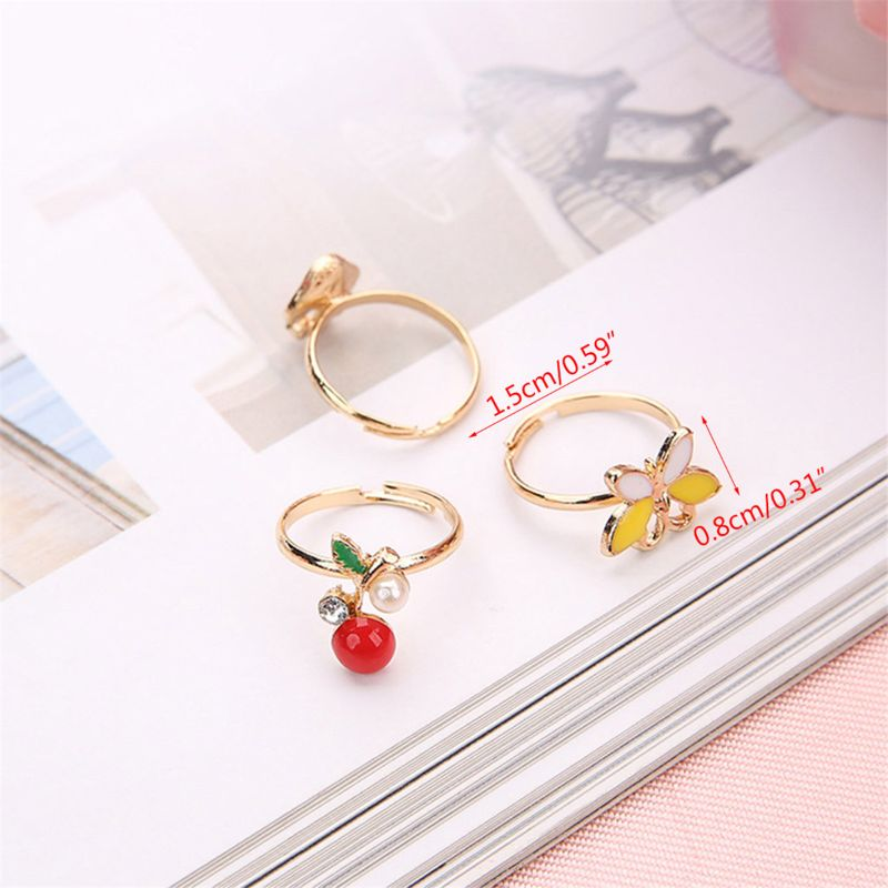 36 pcs Alloy Cartoon Rings With Bow tie box Colorful Lovely Adjustable Jewelry F3ME