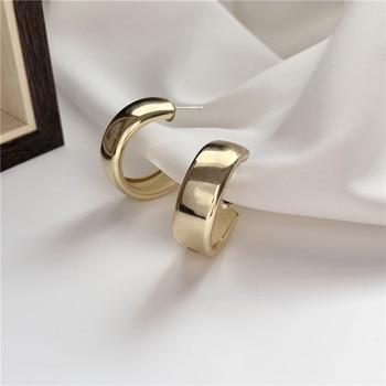 Minimalist Brand Hoop Circle Earring Woman 2020 New Vintage Gold Color korean Scrub Statement Big Earrings Accessories brincos 4