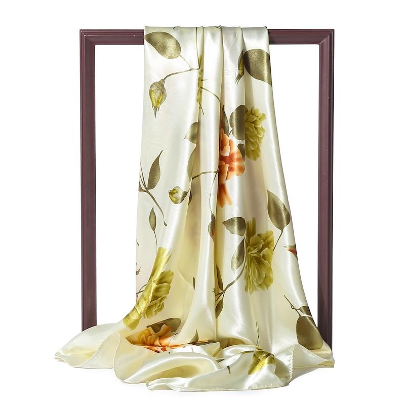 Women Springt Silk Scarf Shawls Beach Wraps Lady Square Hijab Office Neck Scarves Floral Print Satin Pashmina 2020 Sale