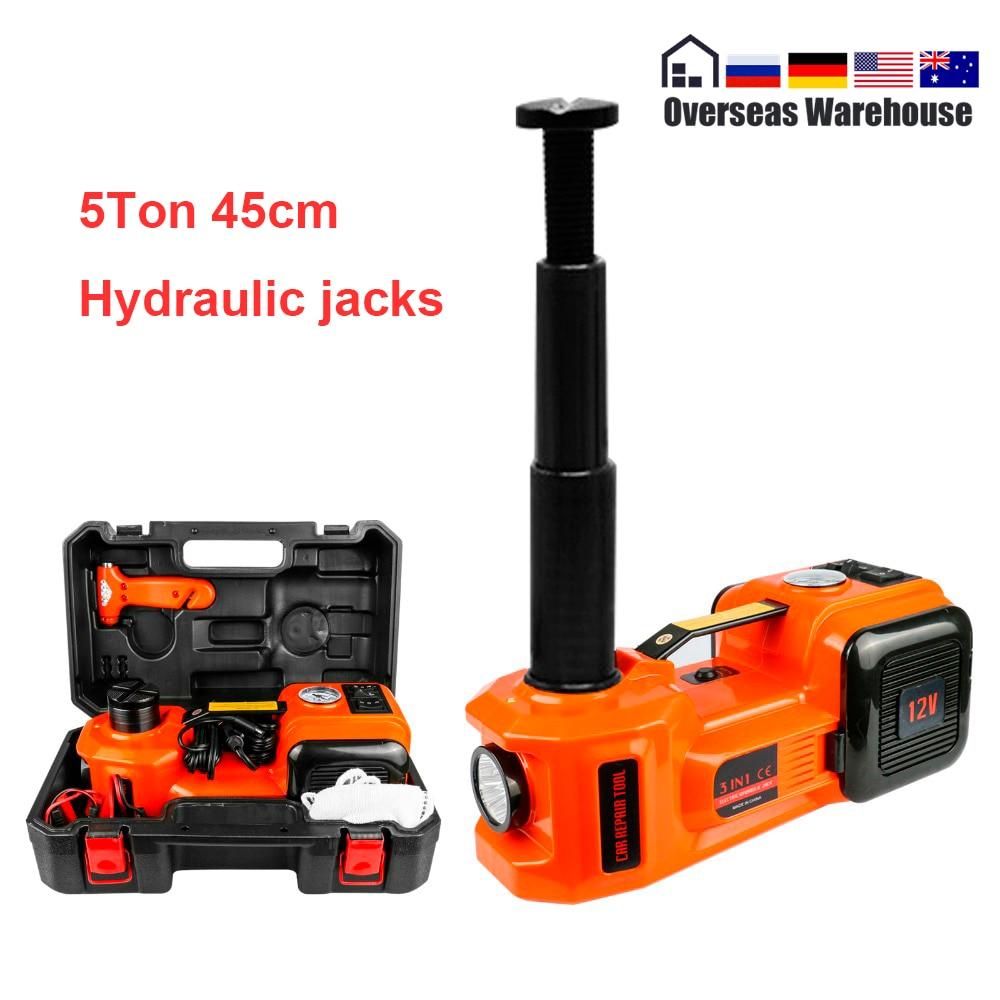 5 t 45cm jack carro elétrico hidráulico jack protable pneu de levantamento ferramenta de reparo do carro chave elétrica inflator lanterna martelo seguro