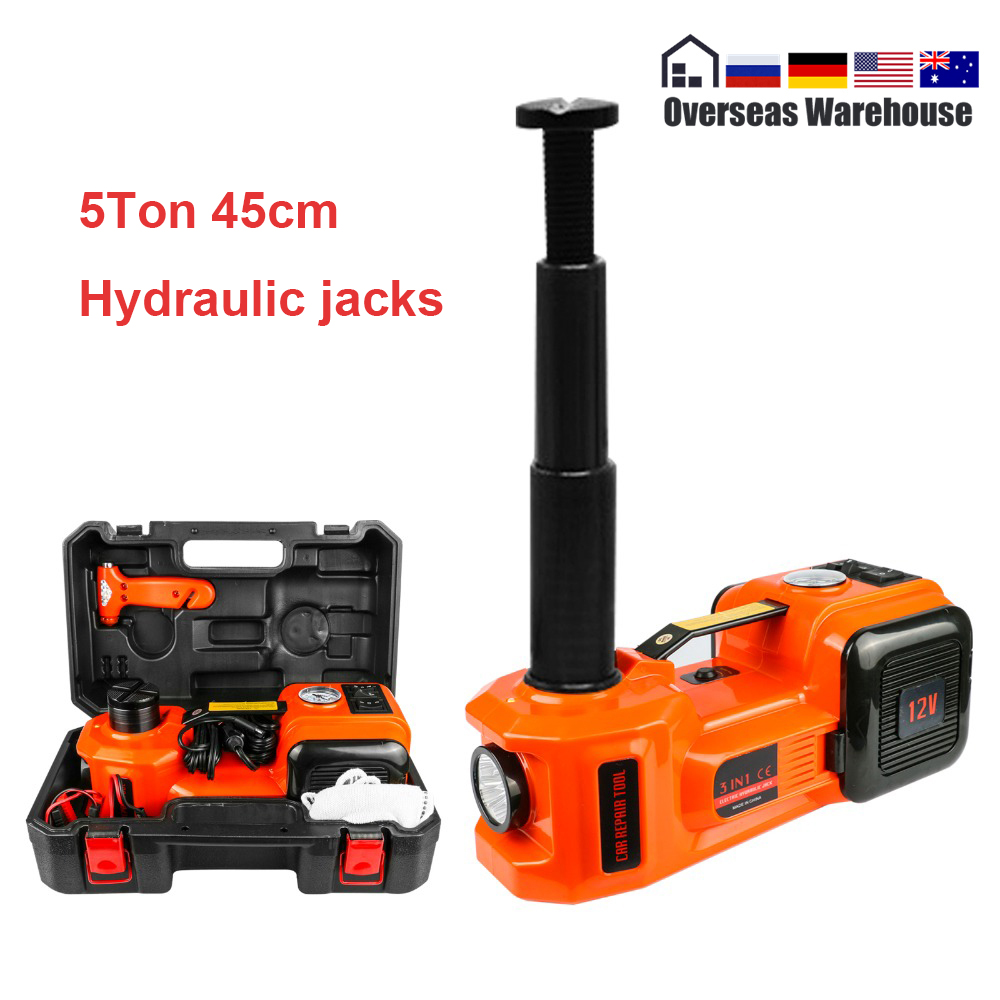5T 45cm Car Jack Electric Hydraulic Jack Protable Tire Lifting Car Repair Tool Electric Wrench Inflator Flashlight Safe Hammer