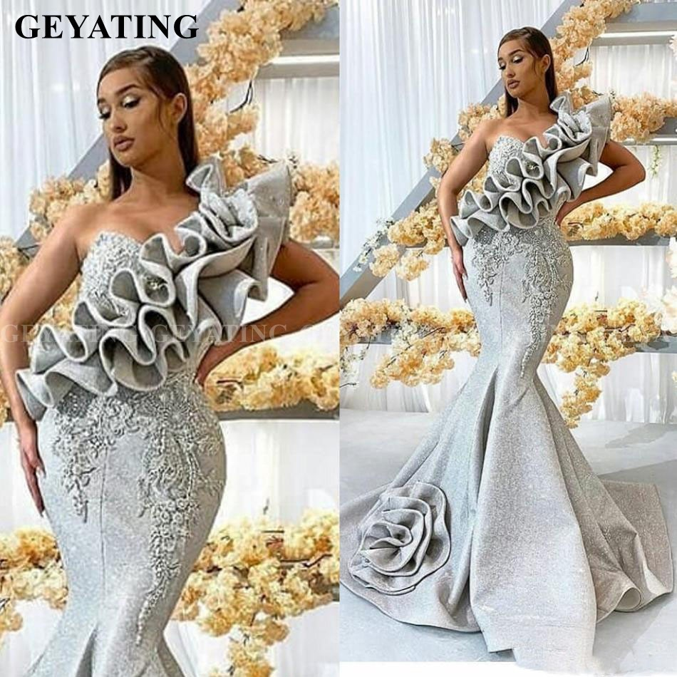 African One Shoulder Mermaid Silver Prom Dresses 2020 Ruffles 3D Flower Lace Arabic Evening Formal Gowns Long Graduation Dress