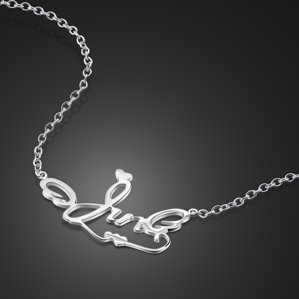 Bohemia fresh and charming letter necklace 925 sterling silver women's choker necklace ladies' clothing jewelry accessories gift