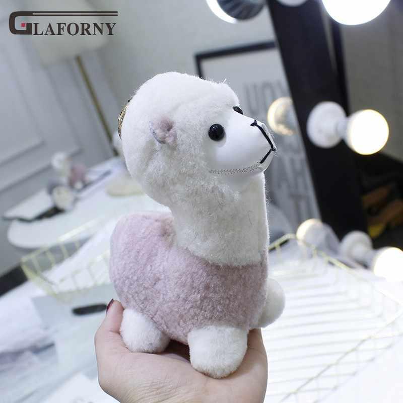 2019 Glaforny chaveiro genuínos hand-made lã real bonito bolsa pingente ornamento decoração de pele de alpaca de pelúcia cadeia chave do carro anel chave