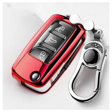 Zabawna miękka TPU obudowa kluczyka do samochodu pełna obudowa do VW Volkswagen Polo Golf Passat Beetle Caddy T5 Up Eos Tiguan SkodaA5 SEAT Leon Altea tanie tanio CN (pochodzenie) blue black red silver pink soft TPU All inclusive waterproof