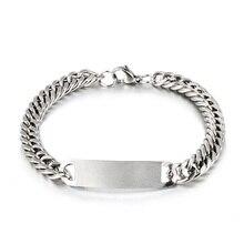 1pc Link Chain Bracelets Mens Womens Bracelets Silver Wristband Bangle Punk Jewe