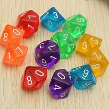 10 dados de d10 faces para rpg dungeons & dragons, jogos de festa, lembranças, jogos de tabuleiro, amantes, 10 peças presente do brinquedo
