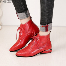 Fashion Women Boots Casual Leather Low High Heels Spring Shoes Woman Pointed Toe lace up Ankle Black Red Zapatos Mujer 481
