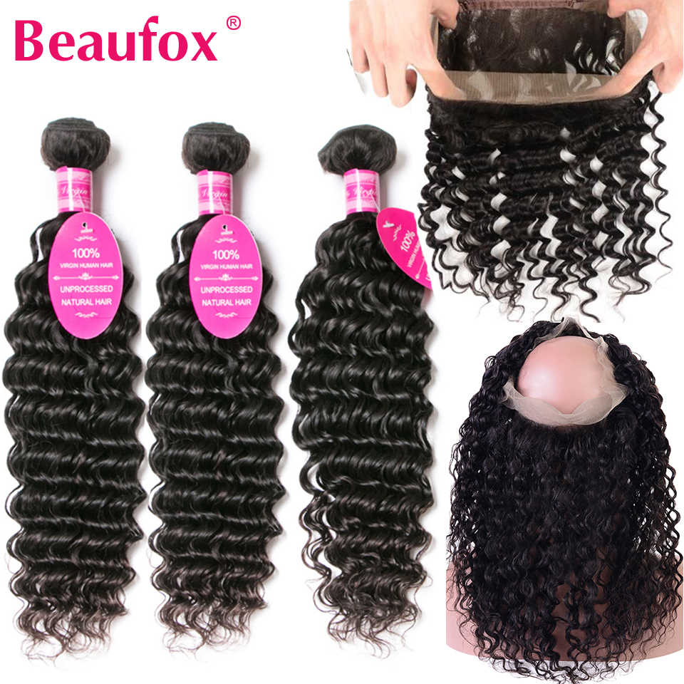 Beaufox Brazilian Deep Wave 360 Lace Frontal With Bundles 100% Remy Human Hair 3 Bundles With 360 Frontal Closure With Baby Hair