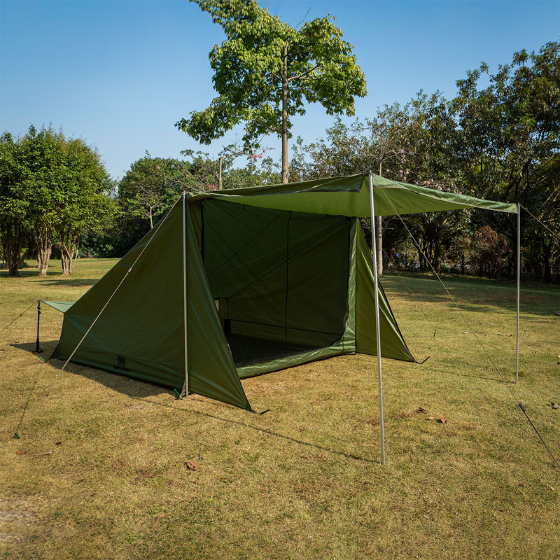 OneTigris 4-Person Outdoor Family Shelter With Porch TIGERSDEN Baker Style Tent For Camping Trips DIY Enthusiasts