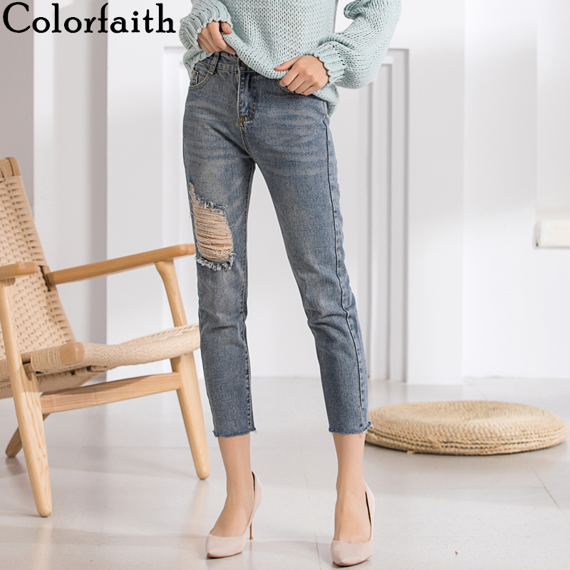 Colorfaith New 2019 Women Jeans Ripped Torn High Waist Calf-Length Pants Vintage Blue Korean Style Streetwear Denim Jeans J1279