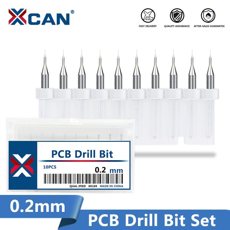 XCAN 10pcs/set 0.2mm PCB Mini Drill Bit Tungsten Carbide For Drilling Print Circuit Board CNC Machine Drill Bits